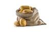 Leinwanddruck Bild - New potatoes in burlap sack isolated on white.
