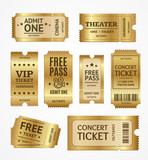 Realistic Detailed 3d Golden Tickets Set. Vector