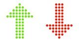 Gepunktete Pfeile hoch und runter in rot und grün - 224141594