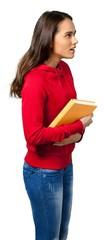 Apprehensive female carrying a textbook © BillionPhotos.com