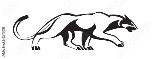Fototapeta Black stylized silhouette of panther. Vector wildcat illustration. Animal isolated on white background as logo, mascot or tattoo