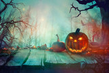 Halloween  with Pumpkin and Dark Forest. Scary Halloween Design