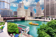 City of Chicago. Image of Chicago downtown and Chicago River with bridges at sunny summer day