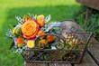 Leinwandbild Motiv Farbenfroher Blumenstrauß mit Rose