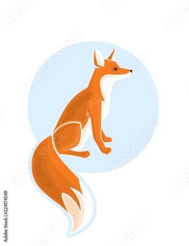 Wild Fox Vector Cartoon Illustration