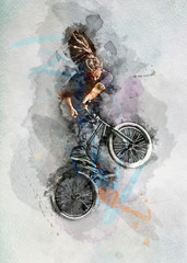 Man doing a stunt on his BMX bicycle in watercolors.