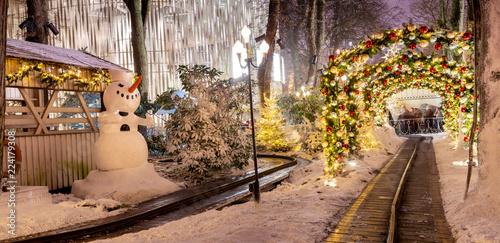 Carousel and christmas illumination in Tivoli Gardens, Compenhagen, Denmark