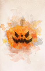 Halloween scary pumpkin in watercolor painting.