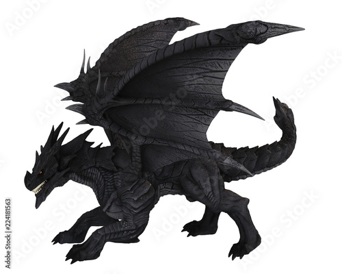 Large Black Dragon in side view - fantasy illustration