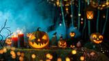 Halloween pumpkins on dark spooky forest. - 224187132