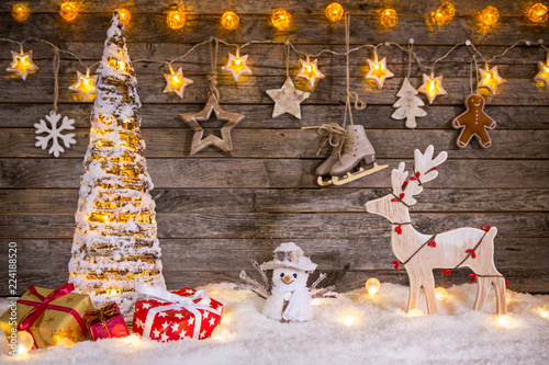 Christmas decoration on wooden background - 224188520