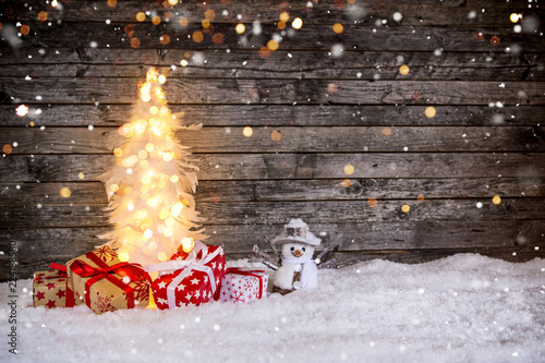 Christmas decoration on wooden background - 224188580