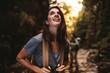 Beautiful woman enjoying hiking in nature