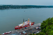 QUEBEC CITY, QUEBEC / CANADA - JULY 14 2018: Ship on Saint Laurent river