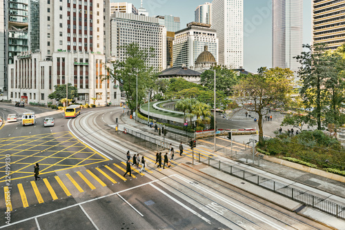 View of the center of Hong Kong at morning time.