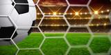 Soccer ball on goal with net
