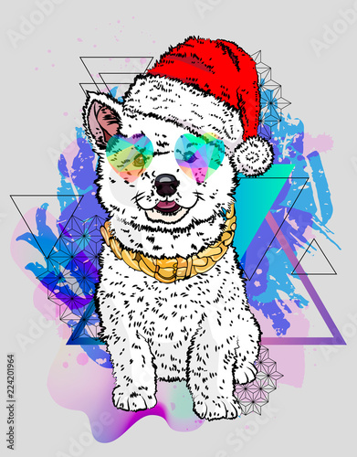 Winter sketch. Cool dog winter print. Isolated vector illustration.