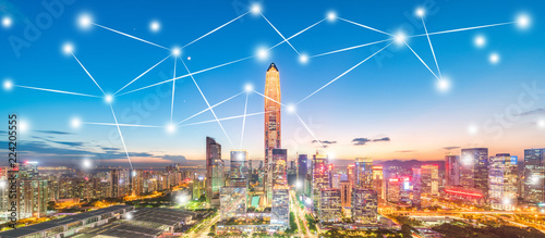 Shenzhen City Scenery and Big Data Concept - 224205555