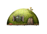 Сказочный лесной домик на белом фоне. - 224209740