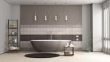 Brown bathtub in a elegant bathroom - 224213542