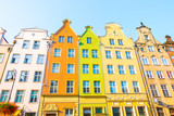 Long Market Street, typical colorful decorative medieval old houses, Royal Route Architecture of Mariacka street is one of most notable tourist attractions. Flat design.