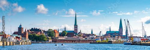 Leinwanddruck Bild Panorama von Lübeck