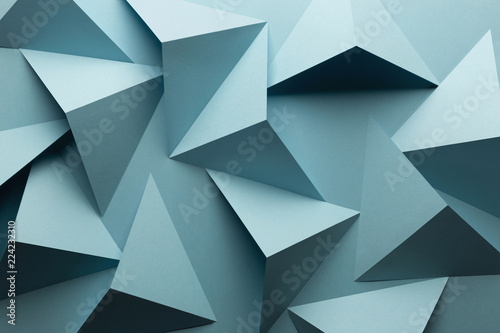 Sticker Composition abstract with geometric blue shapes of paper