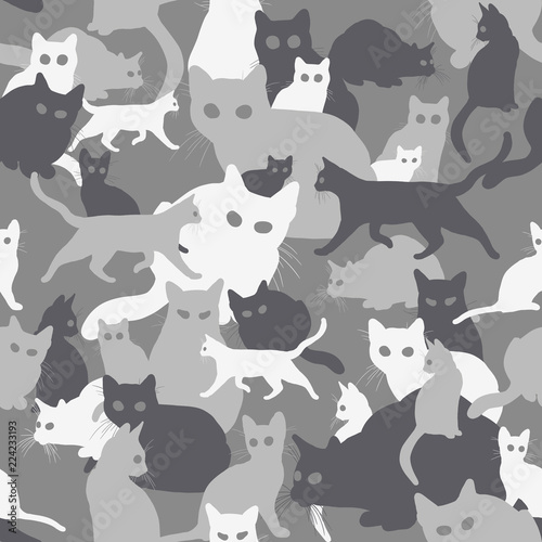 obraz lub plakat Seamless camouflage with cats