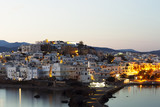 Morning on the Greek island. White traditional houses of the city - 224238975