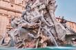 Quadro Rome, close up of Fountain of the Four Rivers by Gian Lorenzo Bernini, Italy