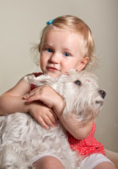 beautiful little blond girl and dog © maximilian_100