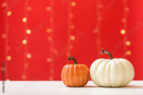Collection of autumn pumpkins on a shiny light red background - 224257969