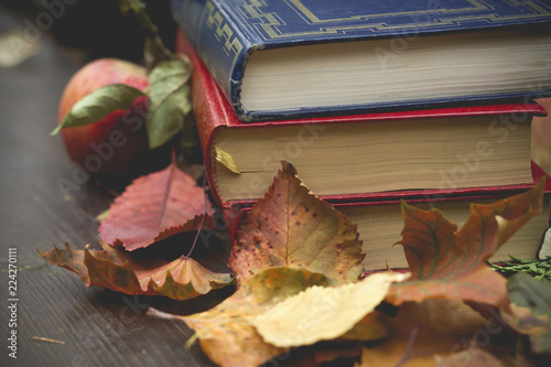 Foto Murales old books on a wooden table outdoors in autumn