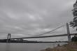 Washington bridge in rainy day.