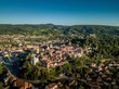 Aerial panorama of medieval Sighisoara in Romania with blue sky, red roofs, bastions, towers and city walls above the Mures river - 224274353