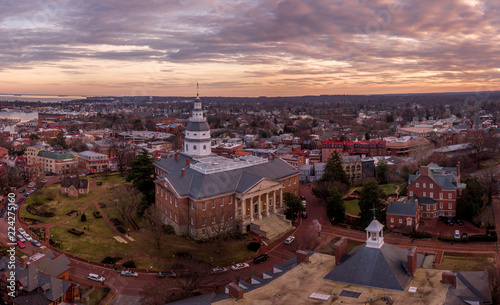 Annapolis Maryland Capitol Aerial view panorama at sunset - 224275160