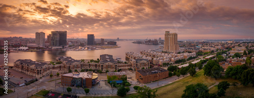 Inner harbor and marina downtown city skyline Baltimore Maryland USA aerial view - 224275335