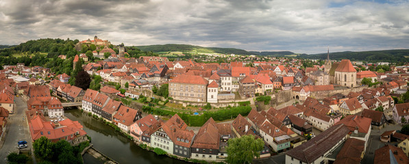 Aerial panorama of famous German castle and town Kronach in Bavaria Germany © tamas