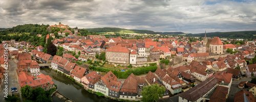 Aerial panorama of famous German castle and town Kronach in Bavaria Germany - 224276562