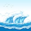 A big wave in ocean