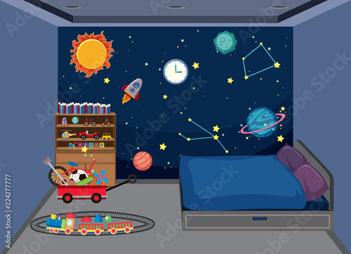 Bedroom with space decoration