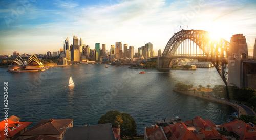 Leinwanddruck Bild Sydney harbour and bridge in Sydney city