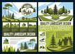 Landscape, green park and gardening design