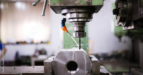 Leinwanddruck Bild machine tool in metal factory with drilling cnc machines