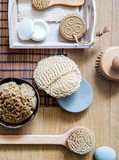 natural, zero waste loofah, sponge and wooden brushes, above view - 224318566