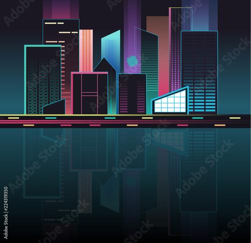 City Skyline Night Time - 224319350
