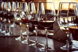 Close up of glasses of wine on a table during a wine tasting - 224322537