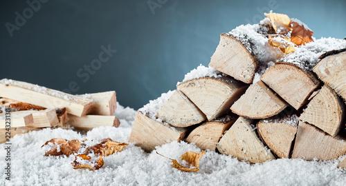 Leinwandbild Motiv Woodpile with stacked logs and kindling