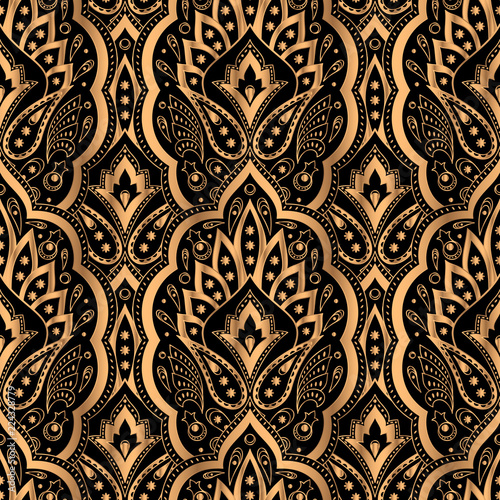 Luxury background vector. Paisley royal pattern seamless. Indian design for yoga wallpaper, beauty spa salon ornament, indian wedding party, birthday wrapping paper, christmas holiday birthday gift.