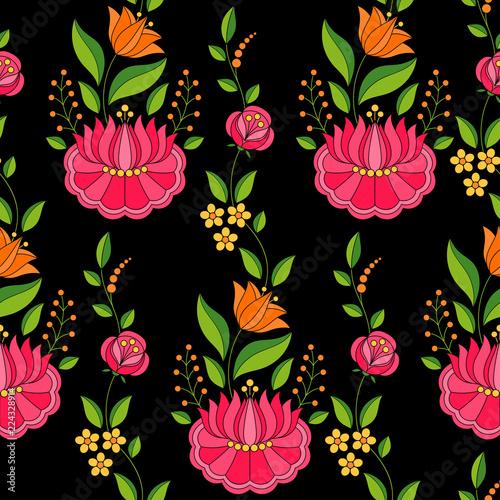 wegierski-ludowy-wzor-wektor-bez-szwu-kalocsa-kwiatowy-ornament-etniczne-slowianski-wschodnioeuropejski-druk-na-czarnym-tle-rocznika-kwiatu-projekt-dla-kobiety-tkaniny-wakacyjny-opakunkowy-papier-tlo